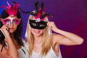 stock photo of venetian carnival  - Holidays people and celebration concept - JPG