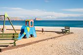 image of costa blanca  - Playground on a sunny Mediterranean beach Costa Blanca Spain - JPG