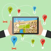 image of gps navigation  - Hands hold smartphone with map of imaginary city with GPS icon and pin template of navigation system - JPG
