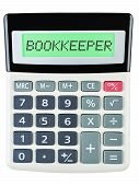 stock photo of amortization  - Calculator with BOOKKEEPER isolated on display on white - JPG
