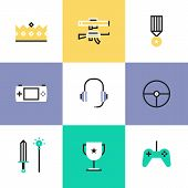 pic of steers  - Flat line icons of indie gaming elements gameplay competition awards console gamepad and steering wheel victory crown and medal - JPG