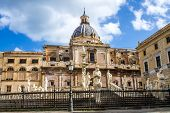 """pic of shame  - """"Piazza Pretoria"""" also known as square of Shame with the Pretoria Fountain and the Church of St. Catherine in Palermo Italy - JPG"""