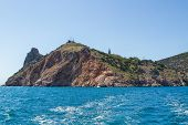 picture of crimea  - Sea landscape with rocks on shore recorded in place Balaclava in region Crimea on Black sea - JPG