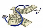 pic of stethoscope  - Stethoscope in the shape of a dollar with money scattered around showing the high cost of healthcare and medicine - JPG