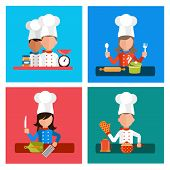 stock photo of food preparation tools equipment  - Flat design concept icons of kitchen utensils with a chef on banners - JPG