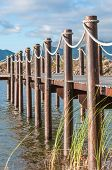 stock photo of south-western  - Dam with jetty near Somerset West in the Western Cape Province of South Africa - JPG