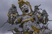 stock photo of monkeys  - This statue showed a moment when monkeys uprised againts the Monkey King - JPG