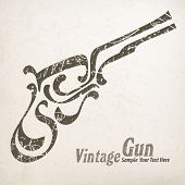 stock photo of guns  - Painting vintage gun on white  - JPG