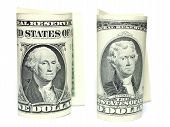 foto of two dollar bill  - Close up of one and two dollars isolate on white background - JPG