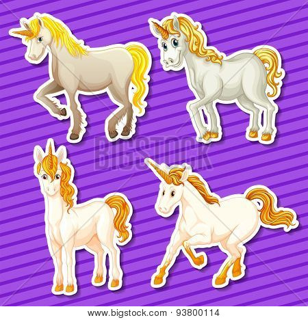 Set of white unicorn in different positions