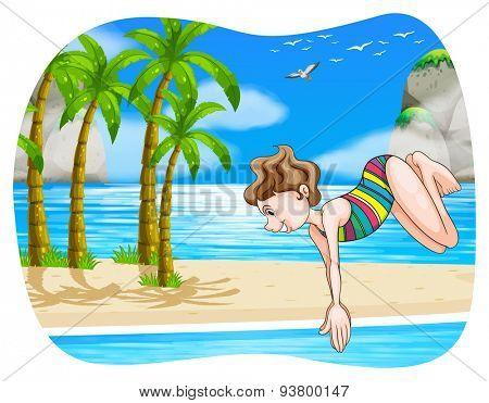 Girl diving in the ocean