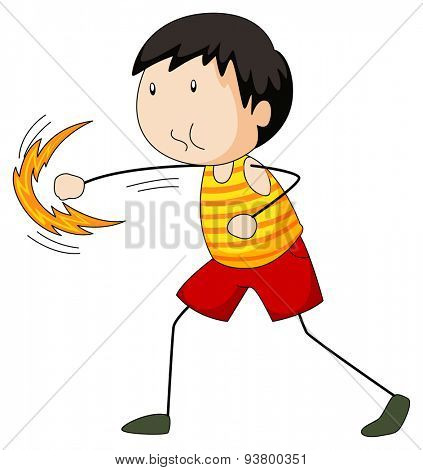 Boy punching the air alone