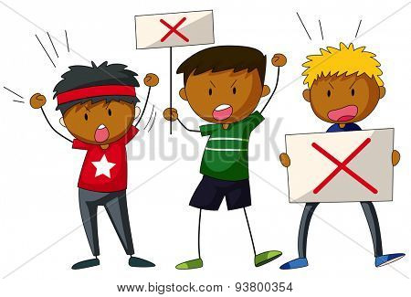Three men with signs yelling and shouting