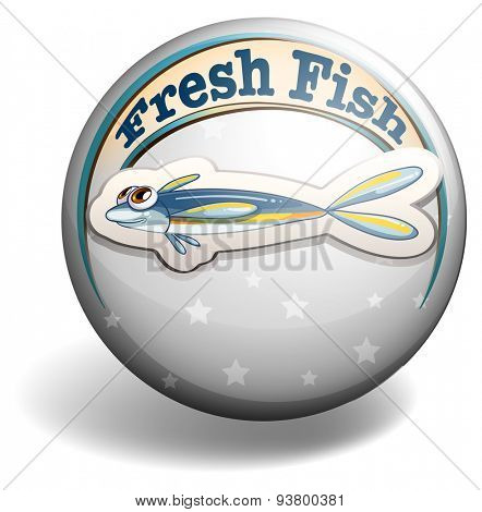Round badge with fresh fish on gray background