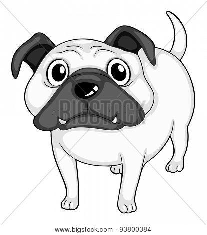 Doodle cute bulldog standing alone