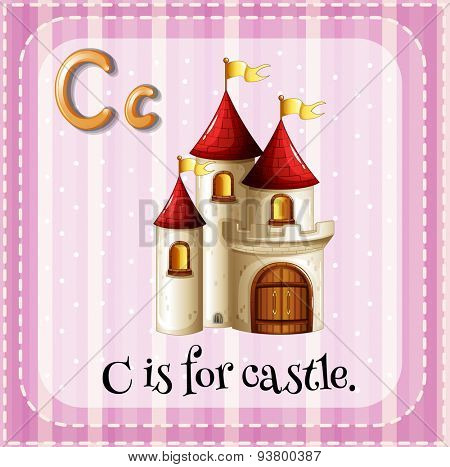 Flashcard letter C is for castle