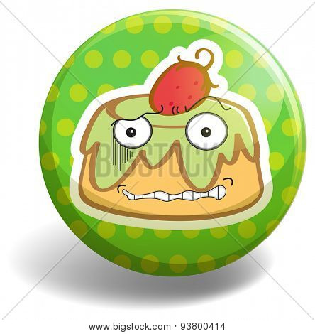 Pudding with face on green round badge