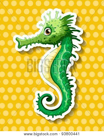 Close up beautiful seahorse on polka dot background