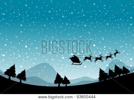 Silhouette Santa and reindeer flying on a snow night