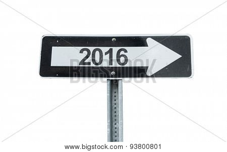 2016 direction sign isolated on white