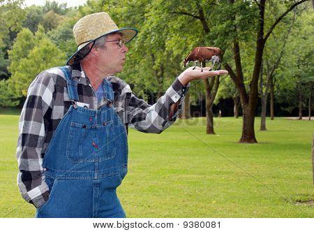 Farmer Holding A Cow