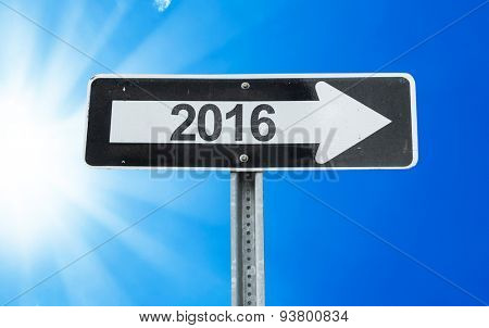 2016 direction sign with a beautiful day