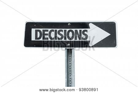 Decisions direction sign isolated on white