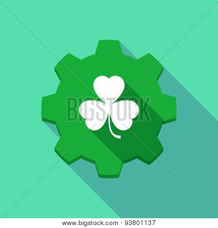 Long Shadow Gear Icon With A  Clover