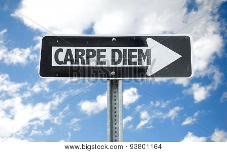 Carpe Diem direction sign with sky background