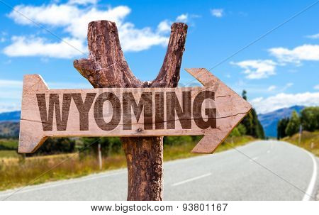 Wyoming wooden sign with road background