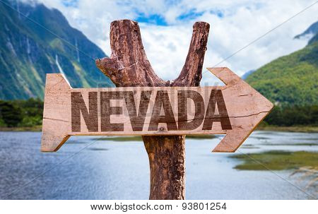 Nevada wooden sign with mountains background