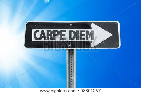 Carpe Diem direction sign with a beautiful day