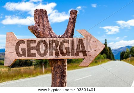 Georgia wooden sign with road background