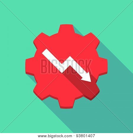 Long Shadow Gear Icon With A  Graph