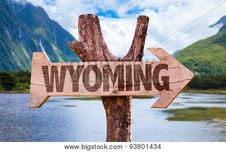 Wyoming wooden sign with mountains background