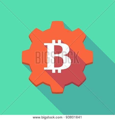 Long Shadow Gear Icon With A  Bitcoin Sign