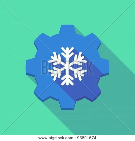Long Shadow Gear Icon With A  Snow Flake