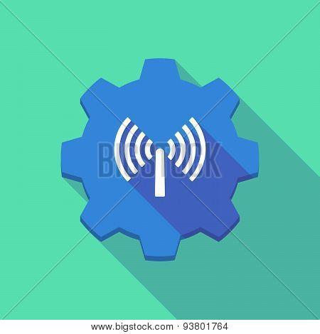 Long Shadow Gear Icon With An Antenna