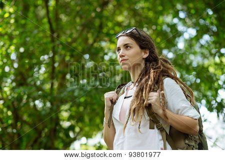 Attractive female hiker