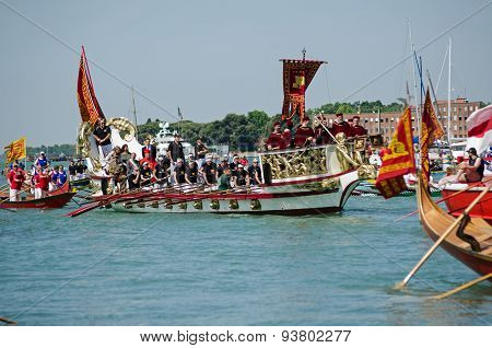 Boat Of Vips At Venice Ceremony