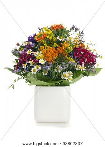 Summer flower bouquet. variety of colorful summer flowers arranged in a vase