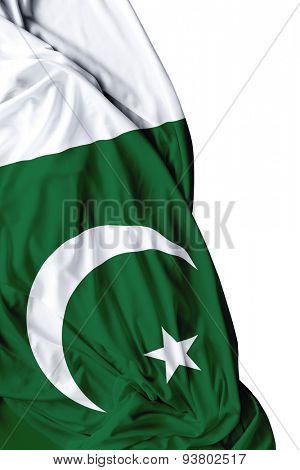 Pakistani waving flag on white background