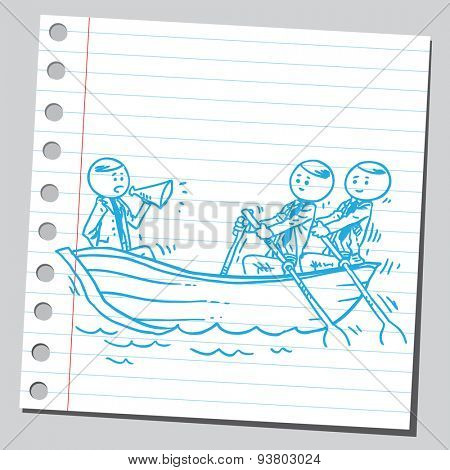 Businessman in boat rowing
