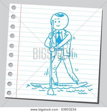 Businessman stand up paddle