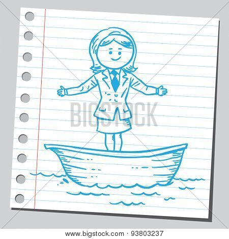 Businesswoman in boat
