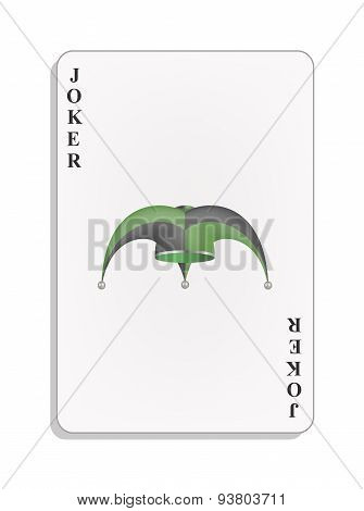 Playing card with joker hat