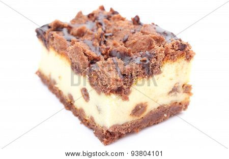 Piece Of Fresh, Delicious Cheesecake On White Background