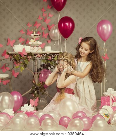 Kids Little Girls Covering Eyes With Hands, Children Birthday Presents Balloons Gift Box