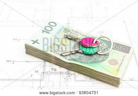 Money With Keys Lying On The Housing Plan