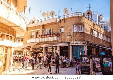 NICOSIA, CYPRUS - APRIL 13 : People in restaurants and traditional coffee shops at Ledra street on A